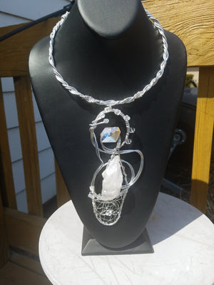 Swarovski crystal wire neck sculpture -Sold