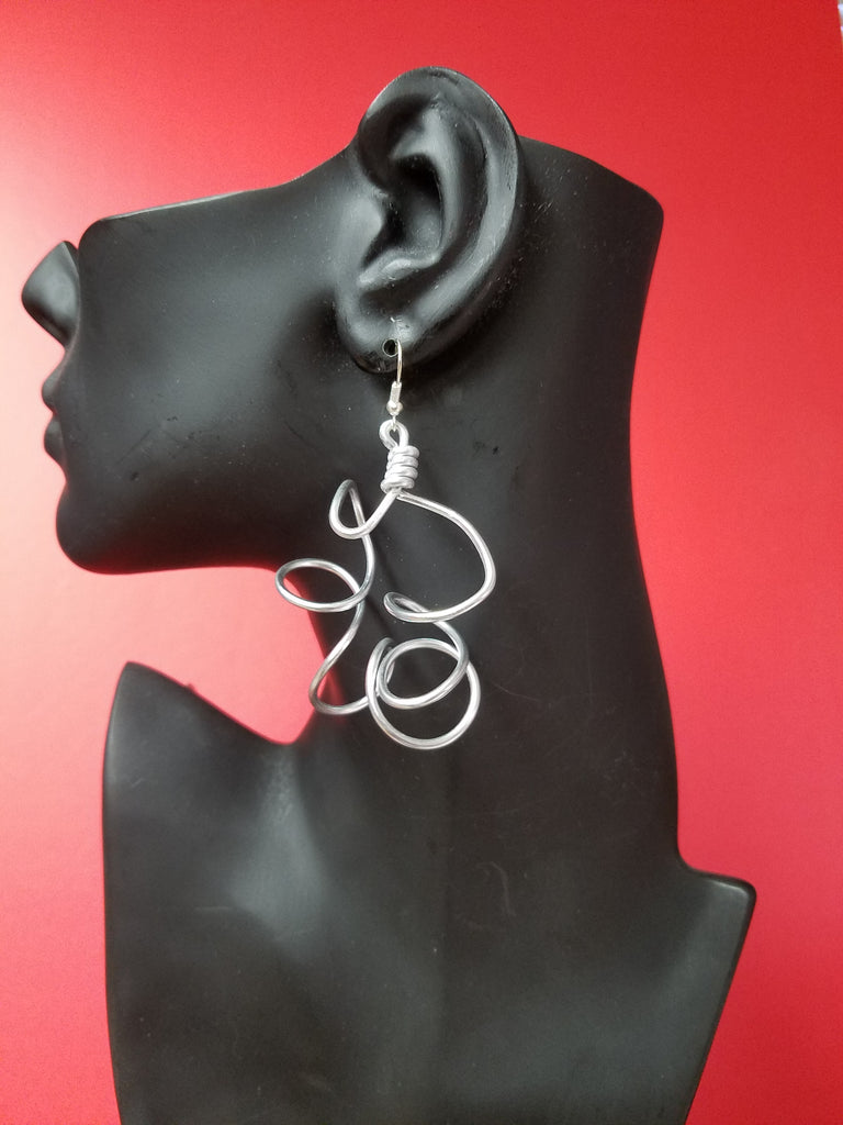 A Simple Twisted silver plated earring