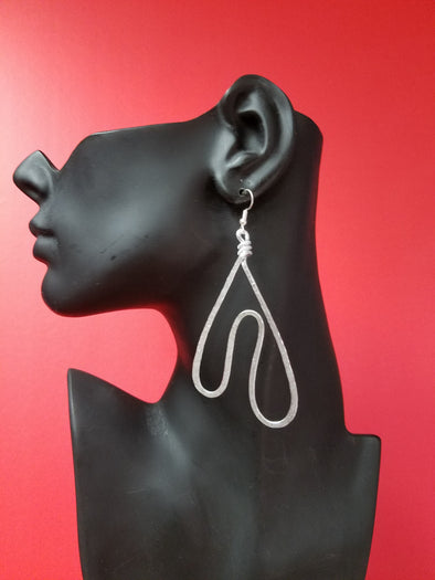 A hammered twisted wire earring