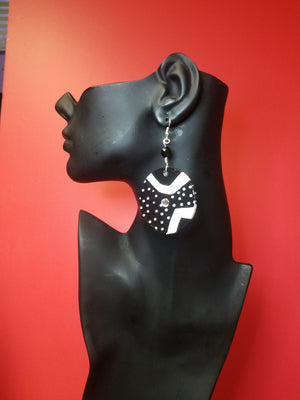 Hand painted black and white wood earrings