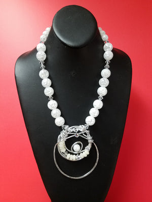 Crackle glass and Swarovski crystal necklace set