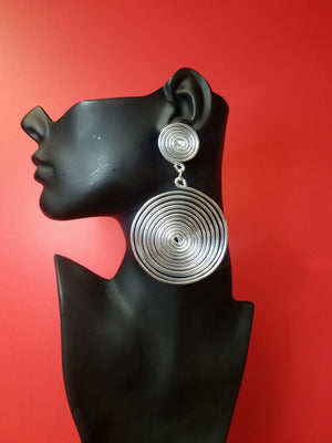silver coil earrings large