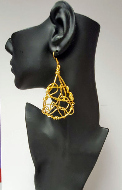 Gold knitted wire earrings