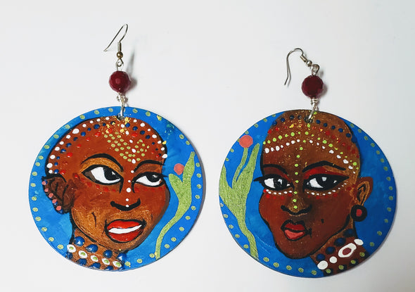 Earrings! New- Hand painted wood