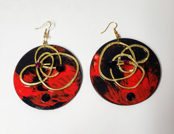 large hand painted earrings