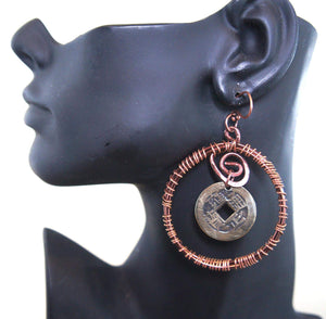 Copper coin earring