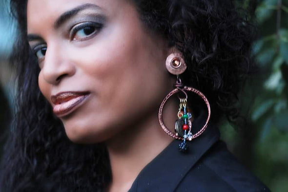 SOLD OUT!  copper beaded hoop earring