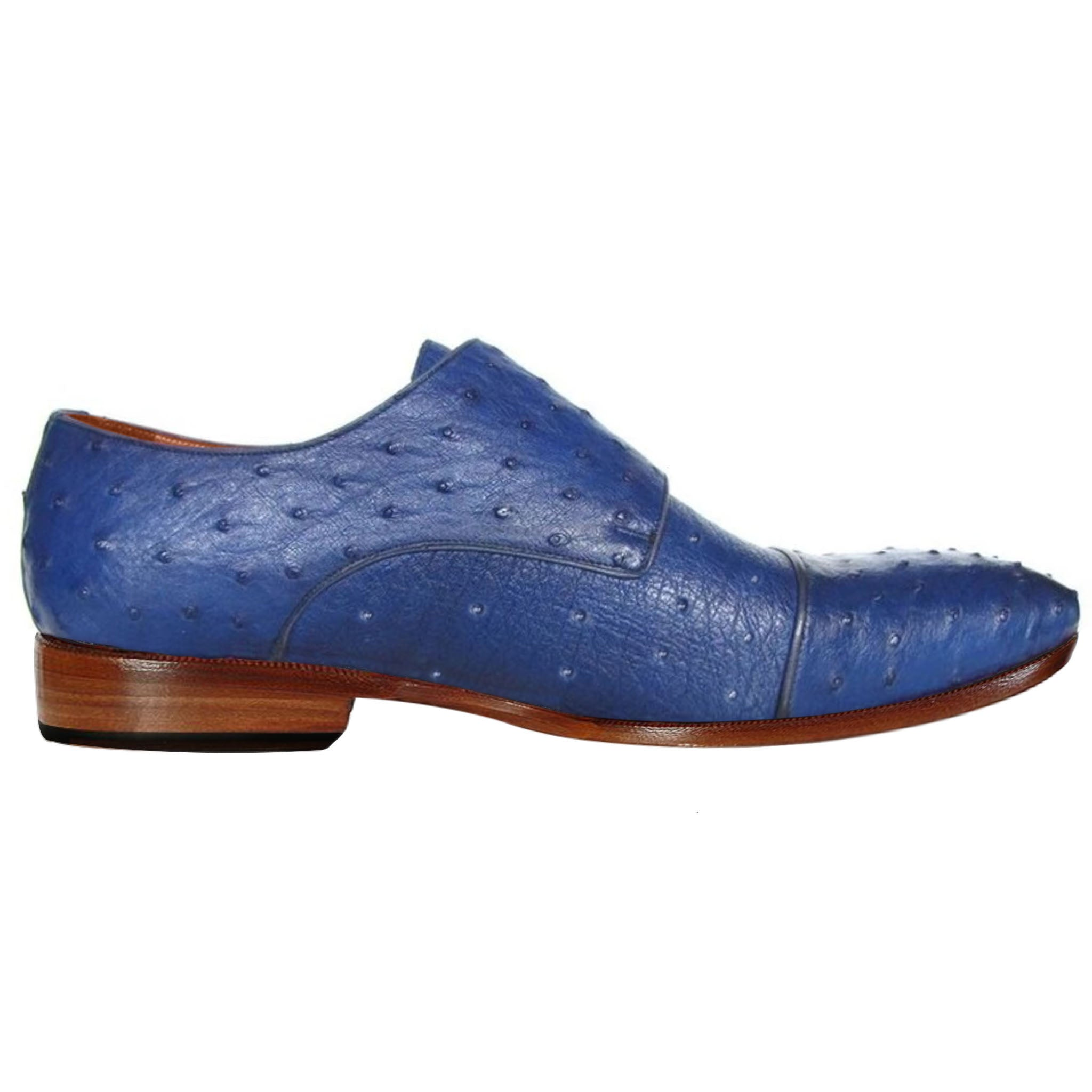 Johny Weber Double Monk In Blue Ostrich Leather