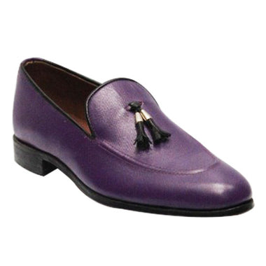 Johny Weber Handmade Leather Purple Loafers - Johny Weber
