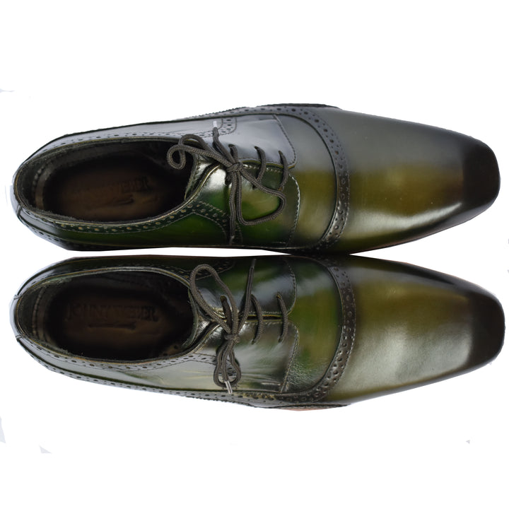 Johny Weber Hand Made Fold Sole Green Patina Shoes