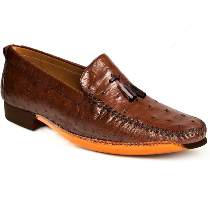 Johny Weber Fold Sole Loafers in Ostrich Leather