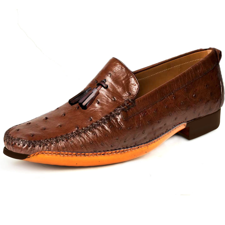 Johny Weber Handmade Fold Sole Loafers in Ostrich Leather - Johny Weber
