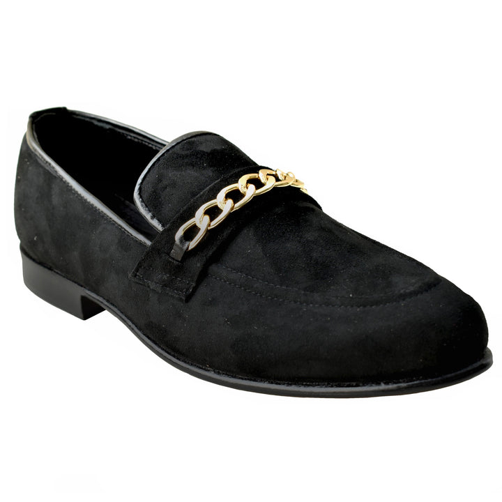 Johny Weber Handmade Crafted Black Suede Chain Loafers - Johny Weber