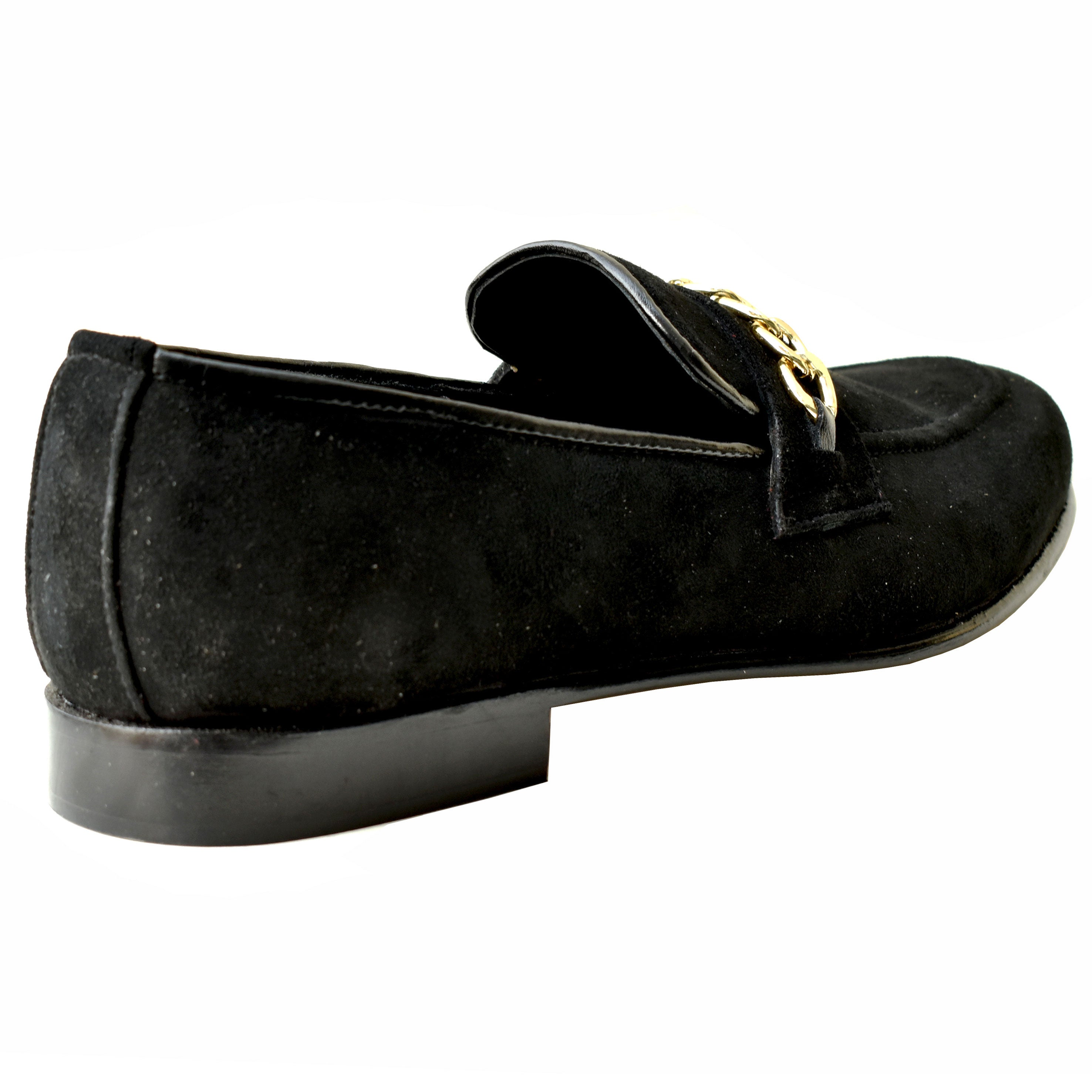 Johny Weber Black Suede Chain Loafers
