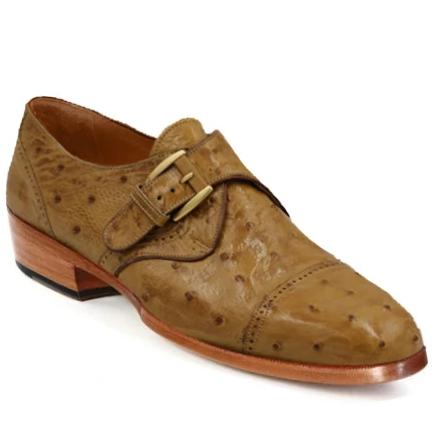 Johny Weber Monk Strap In Original Ostrich Leather
