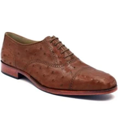 Johny Weber Handmade Oxfords In Original Ostrich Leather - Johny Weber