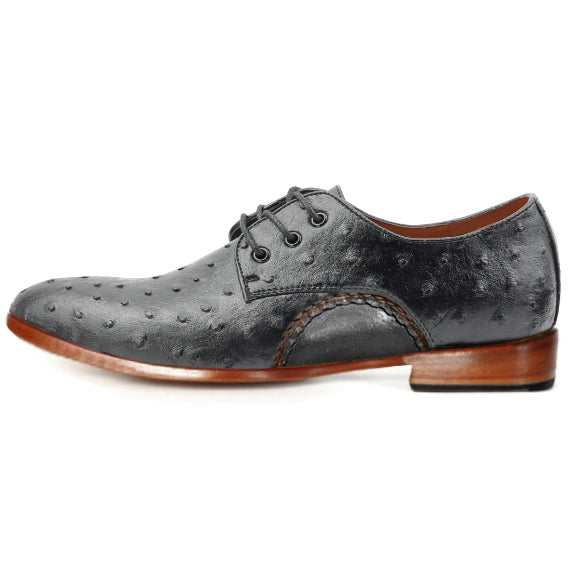 Johny Weber Handmade Oxfords In Black Ostrich Leather - Johny Weber