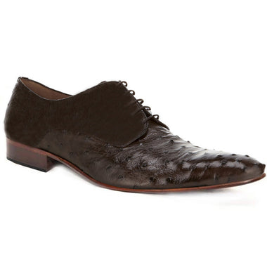 Johny Weber Handmade Oxfords In Dark Brown Ostrich Leather - Johny Weber
