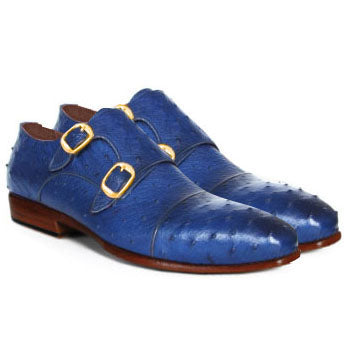 Johny Weber Handmade Double Monk In Blue Ostrich Leather - Johny Weber