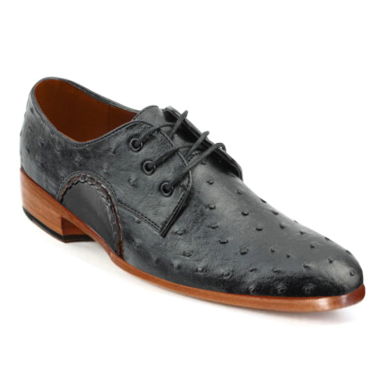 Johny Weber Oxfords In Black Ostrich Leather