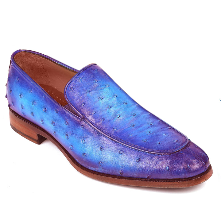 Johny Weber Handmade Blue Ostrich Leather Loafers