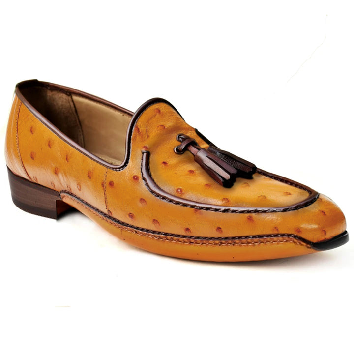 Johny Weber Handmade Yellow Ostrich Leather Fold Sole Shoes