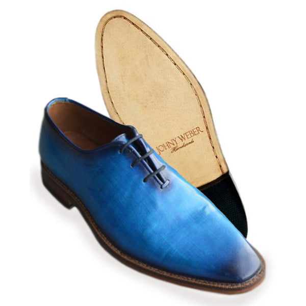 Johny Weber Handmade Oxford Blue Patina Shoes - Johny Weber