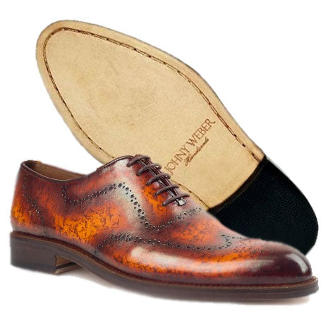 Johny Weber Hand Made Oxford Marble Patina Shoes