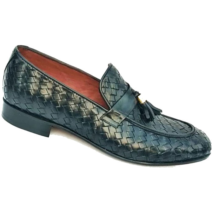 Johny Weber Handmade Knitted Black Stylish Loafers - Johny Weber