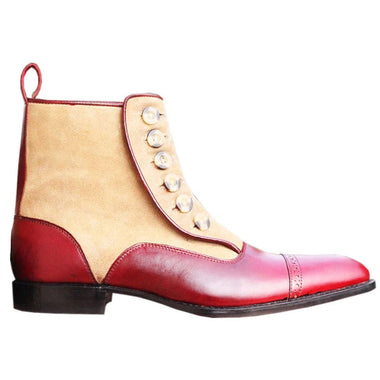 Johny Weber Handmade Red Button Ankle Boots - Johny Weber