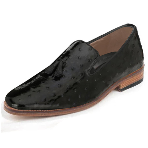 Johny Weber Handmade Loafers In Black Ostrich Leather - Johny Weber