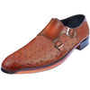 Johny Weber Handmade Brown Double Monk Strap Ostrich Leather Shoes