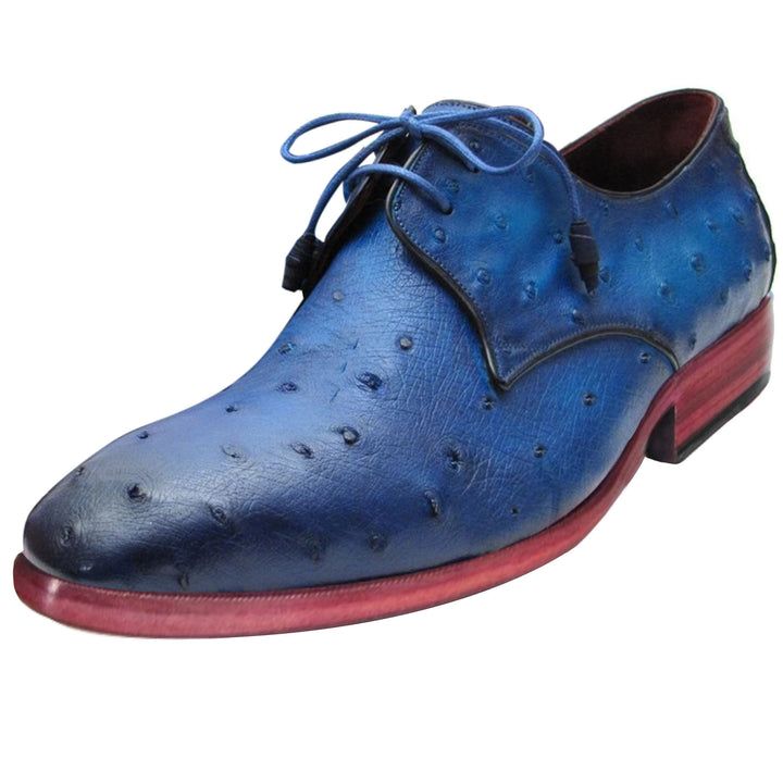 Johny Weber Oxfords In Blue Ostrich Leather