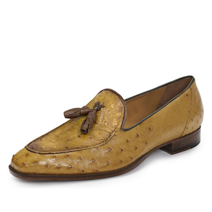 Johny Weber Handmade Gold Brown Ostrich Leather Loafers