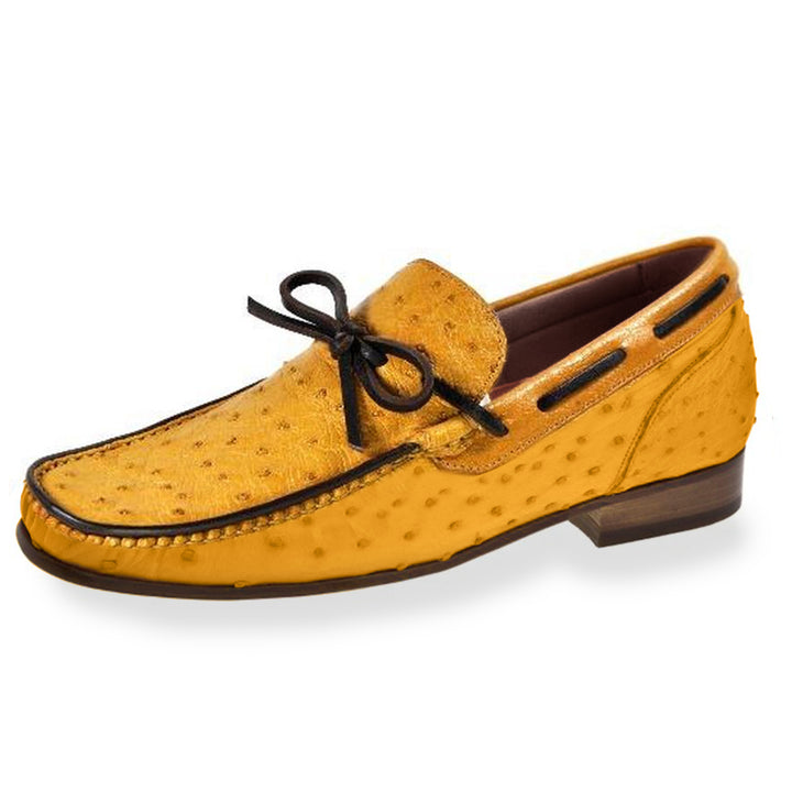 Johny Weber Handmade Yellow Ostrich Leather Loafers