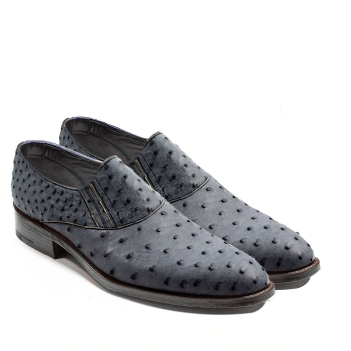 Johny Weber Handmade Grey Ostrich Leather Oxford Shoes