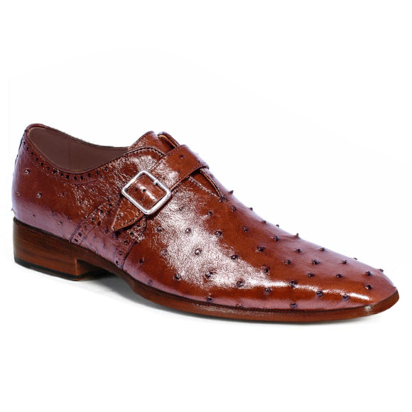 Johny Weber Monk Strap In Brown Ostrich Leather