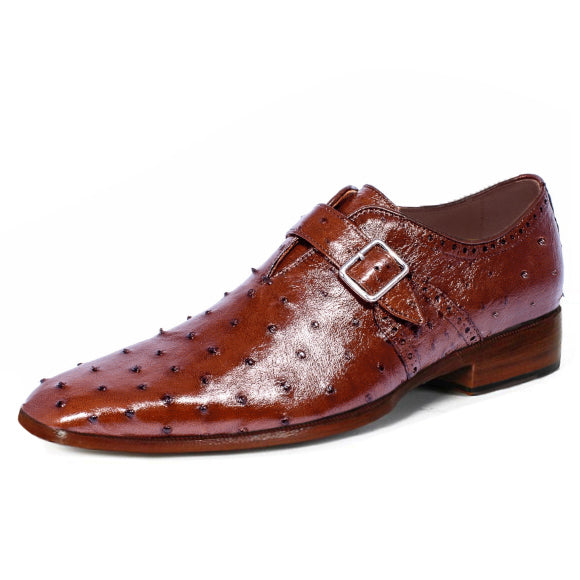 Johny Weber Handmade Monk Strap In Brown Ostrich Leather - Johny Weber
