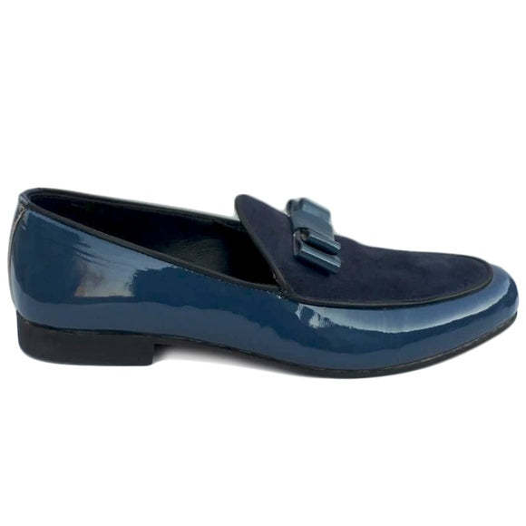 Johny Weber Handmade Patent Leather Handmade Blue Loafers - Johny Weber