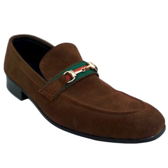 Johny Weber Brown Seude Monk-Strap Loafers