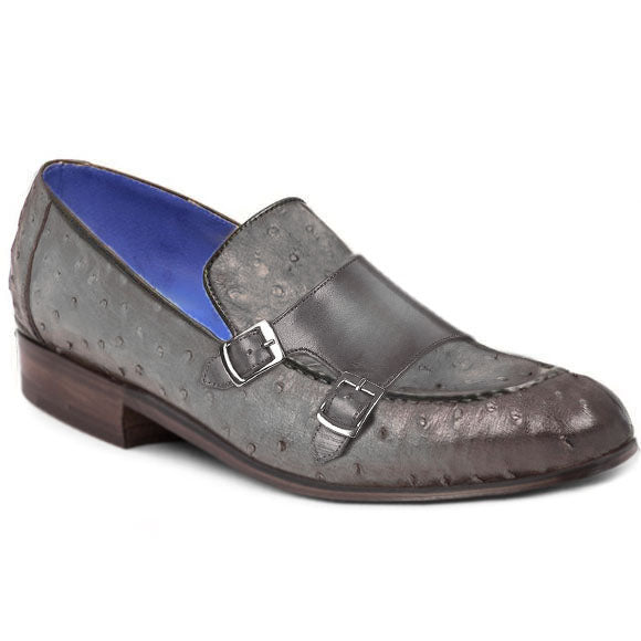 Johny Weber Handmade Grey Ostrich Leather Loafer Shoes