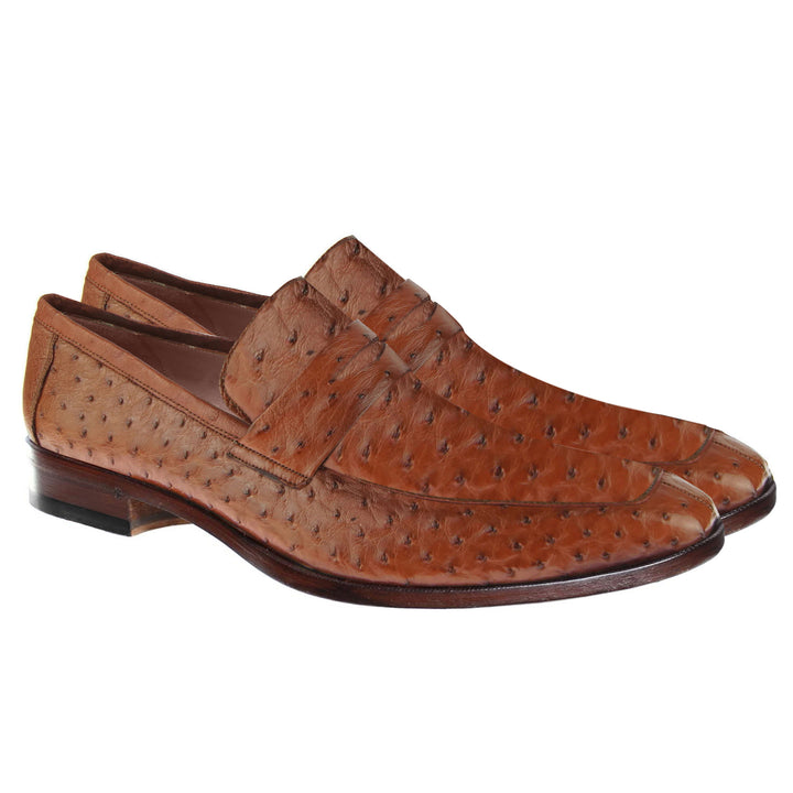 Johny Weber Handmade Loafers In Brown  Ostrich Leather - Johny Weber