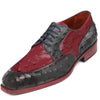 Johny Weber Handmade Red And Black Ostrich Leather Oxford Shoes