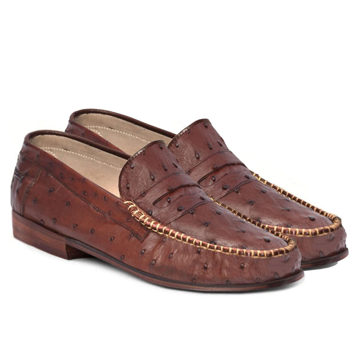 Johny Weber Handmade Brown Ostrich Leather Loafers