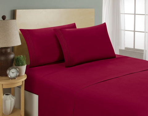 Bamboo 1800 Series 4pc Queen Bed Sheet - Super Soft Aloe Infused- Hypoallergenic, Deep pocket, Wrinkle and Fade Resistant
