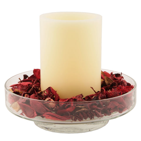 Bingham Glass Centerpiece with Flameless Timer Candle