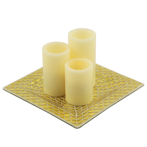 Pandora Mosaic Tray with 3 Flameless Pillar Candles