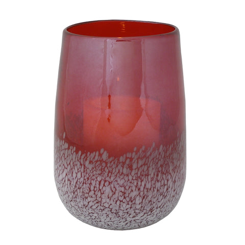 Savoy Speckled Glass Hurricane with Flameless Candle