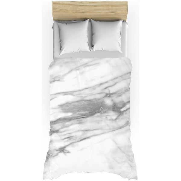 Hard Rays White Marble Duvet Cover - GLUSH/ - 2