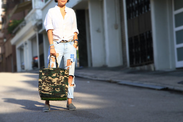 Match this GLUSH/ green camouflage grassy tote bag with your white shirt and ripped boyfriend jeans for a chic outfit